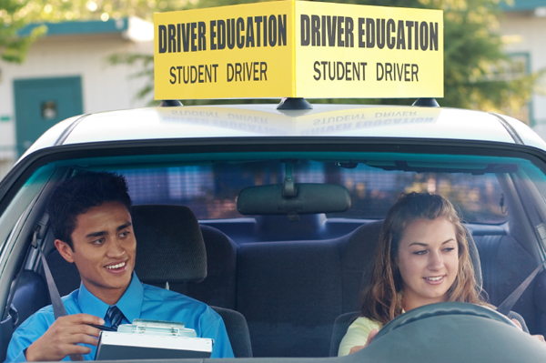 Student in Drivers' Education learning to drive.