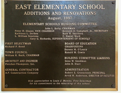 image of plaque with East renovations info