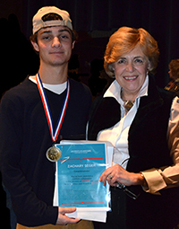 Gold Key winner Zachary Seger with NCHS Art Teacher Jeanne McDonagh