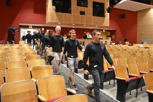 Yale Whiffenpoofs enter Saxe Auditorium