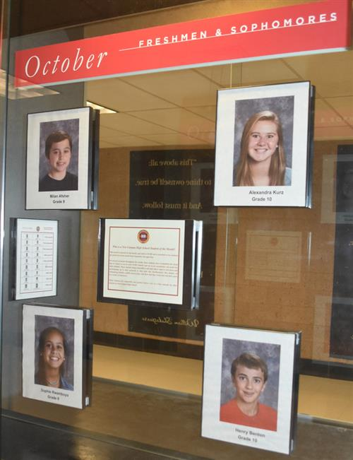 NCHS Students of the Month, Freshmen-Sophomores