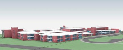 Rendering of the proposed 2 story, 12 classroom addition to Saxe Middle School