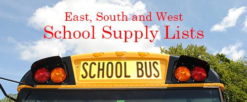 Top of a school bus with the words East, South and West School Supply Lists written above in the clouds