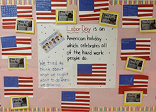 Bulletin Board of American flags made by students