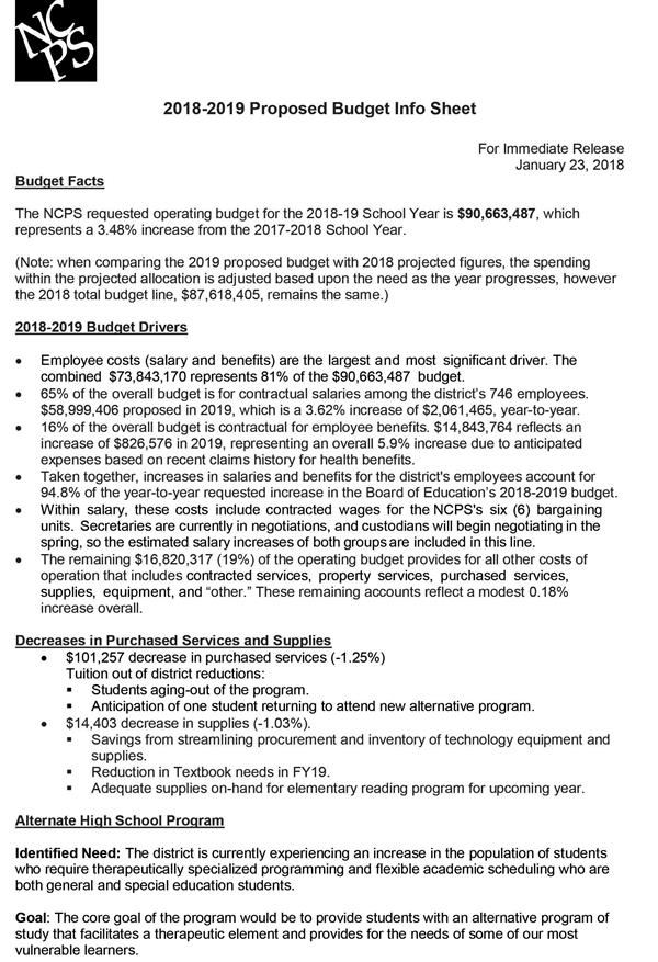 2018-2019 Proposed Budget Info Sheet