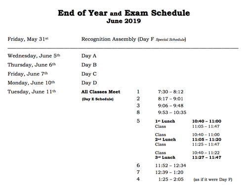 End of Year and Exam Schedule