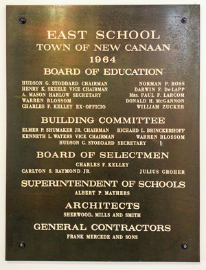 image of East School building plaque