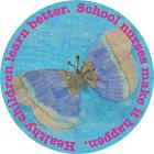 "The Nurse's Office logo is a butterfly drawing surrounded by words ""Healthy children learn better. School nurses make it happ"