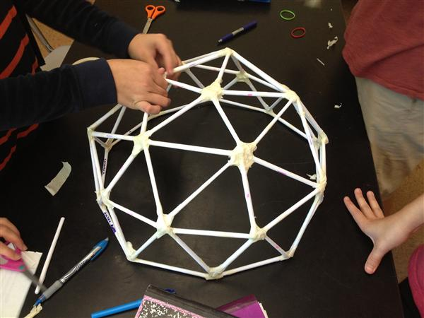 Students creating a dome