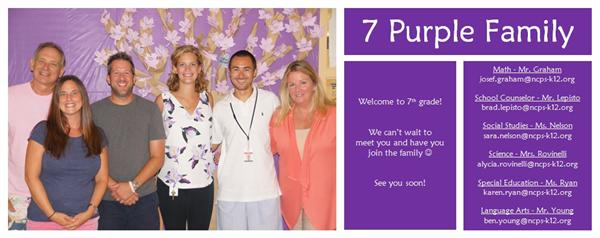 7 Purple Welcome Card