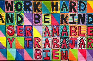 image of work hard, be kind poster